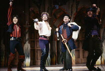 from left: Michael Praed (Frederic), Tim Curry (The Pirate King), Sylvester McCoy (Samuel) in THE PIRATES OF PENZANCE by Gilbert & Sullivan at the Theatre Royal Drury Lane, London WC2 26/05/1982  ...