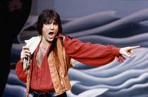 Michael Praed (Frederic) in THE PIRATES OF PENZANCE by Gilbert & Sullivan at the Theatre Royal Drury Lane, London WC2 26/05/1982  music: Arthur Sullivan lyrics: W S Gilbert set design: Bob Shaw &...
