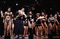 front centre: Tony Monopoly (Dorothy Hyman), Jayne Collins (Trixie Shedbanger), Joanne Redman (Fifi Clampwell) in MOBY DICK at the Piccadilly Theatre, London W1 17/03/1992  book & lyrics: Robert L...