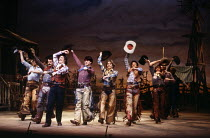 cowboys in OKLAHOMA! by Rodgers & Hammerstein at the Palace Theatre, London W1 17/09/1980  music: Richard Rodgers book & lyrics: Oscar Hammerstein II design: Tim Goodchild lighting: Richard Pilbro...