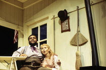 Clive Rowe (Enoch Snow), Katrina Murphy (Carrie Pipperidge) in CAROUSEL by Rodgers & Hammerstein at the Shaftesbury Theatre, London WC1 10/09/1993  a National Theatre production music: Richard Rod...