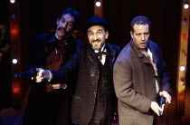 l-r: David Firth (John Wilkes Booth), Henry Goodman (Charles Guiteau), Jack Ellis (Leon Czolgosi) in ASSASSINS at the Donmar Warehouse, London WC2 29/10/1992  music & lyrics: Stephen Sondheim book...