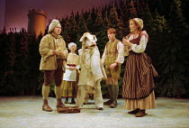 l-r: Nicholas Holder (The Baker), Sheila Reid (Jack's Mother), Milky White (the cow), Christopher Pizzey (Jack), Sophie Thompson (The Baker's Wife) in INTO THE WOODS at the Donmar Warehouse, London WC...