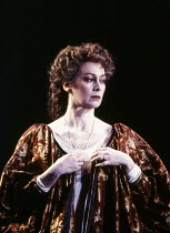 Francesca Annis (Gertrude) in HAMLET by Shakespeare at the Hackney Empire, London E8 28/02/1995  an Almeida Theatre production set design: Peter J Davidson costumes: James Acheson lighting: Mark H...