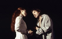 Tara Fitzgerald (Ophelia), Ralph Fiennes (Hamlet) in HAMLET by Shakespeare at the Hackney Empire, London E8 28/02/1995  an Almeida Theatre production set design: Peter J Davidson costumes: James A...