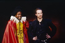 l-r: Paterson Joseph (Marquis de Mota), Linus Roache (Don Juan Tenorio) in THE LAST DAYS OF DON JUAN by Nick Dear at the Royal Shakespeare Company (RSC), Swan Theatre, Stratford-upon-Avon 05/04/1990 &...