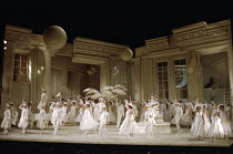 centre: Bonaventura Bottone (Nanki-Poo), Susan Bullock (Yum-Yum), Eric Shilling (Pish-Tush) in THE MIKADO by Gilbert & Sullivan at English National Opera (ENO), London Coliseum, London WC2 23/11/1988...