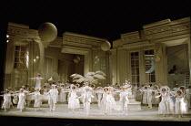 centre: Jean Rigby (Pitti-Sing), Bonaventura Bottone (Nanki-Poo), Susan Bullock (Yum-Yum), Eric Shilling (Pish-Tush) in THE MIKADO by Gilbert & Sullivan at English National Opera (ENO), London Coliseu...