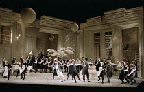 front centre: Bonaventura Bottone (Nanki-Poo), Susan Bullock (Yum-Yum), Donald Adams (Pooh-Bah) in THE MIKADO by Gilbert & Sullivan at English National Opera (ENO), London Coliseum, London WC2 23/11/1...