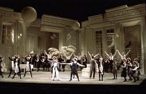 front centre: Bonaventura Bottone (Nanki-Poo), Susan Bullock (Yum-Yum) in THE MIKADO by Gilbert & Sullivan at English National Opera (ENO), London Coliseum, London WC2 23/11/1988  conductor: John...