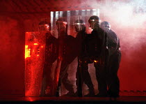 police in A CLOCKWORK ORANGE 2004 at the Royalty Theatre, London WC2 26/05/1990  a Royal Shakespeare Company production written by Anthony Burgess in collaboration with Ron Daniels music by The Ed...