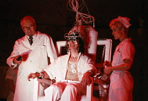 undergoing aversion therapy - l-r: Russell Enoch (Dr Brodsky), Phil Daniels (Alex), Natalie Roles (The Nurse) in A CLOCKWORK ORANGE 2004 at the Royalty Theatre, London WC2 26/05/1990  a Royal Shak...