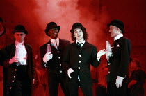 l-r: Robbie Gee (George), Christopher McHallem (Pete), Phil Daniels (Alex), Patrick Brennan (Dim) in A CLOCKWORK ORANGE 2004 at the Royalty Theatre, London WC2 26/05/1990  a Royal Shakespeare Comp...