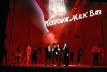 centre, l-r: Robbie Gee (George), Christopher McHallem (Pete), Phil Daniels (Alex), Patrick Brennan (Dim) in A CLOCKWORK ORANGE 2004 at the Royalty Theatre, London WC2 26/05/1990  a Royal Shakespe...