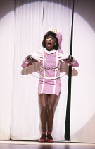 Danitra Vance in THE COLORED MUSEUM by George C Wolfe at the Royal Court theatre, London SW1 03/08/1987  a New York Shakespeare Festival & Joseph Papp production set design: Brian Martin costumes:...