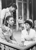 left: Joanne Campbell (Irene - top), Joan-Ann Maynard (Olga)  right: Pauline Black (Marsha) in TRINIDAD SISTERS by Mustapha Matura at the Donmar Warehouse, London WC2  11/02/1988  a Tricycle Theatre...