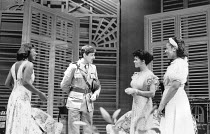 l-r: Joanne Campbell (Irene), Patrick Drury (Version), Pauline Black (Marsha), Joan-Ann Maynard (Olga) in TRINIDAD SISTERS by Mustapha Matura at the Donmar Warehouse, London WC2 11/02/1988  a Tric...