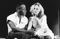 Lennie James (Burt), Miranda Richardson (Etta) in ETTA JENKS by Marlane Gomard Meyer at the Royal Court Theatre, London SW1 05/11/1990  design: William Dudley lighting: Mark Henderson director: Ma...