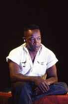Lennie James (Burt) in ETTA JENKS by Marlane Gomard Meyer at the Royal Court Theatre, London SW1 05/11/1990  design: William Dudley lighting: Mark Henderson director: Max Stafford-Clark