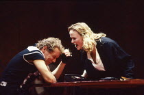 Christopher Fairbank (James), Miranda Richardson (Etta) in ETTA JENKS by Marlane Gomard Meyer at the Royal Court Theatre, London SW1 05/11/1990  design: William Dudley lighting: Mark Henderson dir...