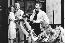 l-r: Elizabeth Romilly (Breda), Patrick Ryecart (Balthazar), Simon Callow (Beefy), Charlotte West-Oram (Rebecca) in THE BEASTLY BEATITUDES OF BALTHAZAR B by J. P. Donleavy at the Duke of York's Theatr...