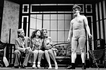l-r: Patrick Ryecart (Balthazar), Elizabeth Romilly (Breda), Charlotte West-Oram (Rebecca), Simon Callow (Beefy) in THE BEASTLY BEATITUDES OF BALTHAZAR B by J. P. Donleavy at the Duke of York's Theatr...