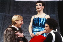 l-r: John Dicks (Solange), Mark Rylance (Madame), Raad Rawi (Claire) in THE MAIDS by Jean Genet at the Lyric Hammersmith Studio, London W6 12/10/1981  translation: Bernard Frechtman design: Ultz &...