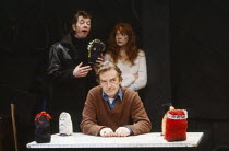 l-r: Mike Grady (Leadwell), Tom Watson (Swiddles), Frances Low (Thelma) in THE CATCH by Nick Darke at the Theatre Upstairs, Royal Court Theatre, London SW1 16/10/1981  design: Chris Townsend light...
