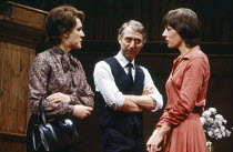 l-r: Gwen Taylor (Christine Fenton), Donald Gee (Ted Fenton), Lynn Farleigh (Marian Wade) in HARVEST by Ellen Dryden at the Ambassadors Theatre, London WC2 14/10/1981  set design: Eileen Diss cost...