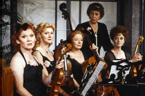 l-r: Anna Sharkey (Patricia), Pamela Miles (Pamela), Frances Cuka (Suzanne Delicias), Joyce Grant (Madame Hortense), Lana Morris (Emmeline) in THE ORCHESTRA by Jean Anouilh at the King's Head Theatre,...