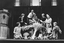 l-r: Gwen Taylor (Christine Fenton), Lynn Farleigh (Marian Wade), Donald Gee (Ted Fenton), David Horovitch (Peter Halpern), Mary Chester (Elizabeth Fenton), Sylvestra Le Touzel (Juliet)in HARVEST by E...