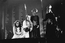 front left, l-r: Josephine Barstow (Sieglinde), Linda Esther Gray (Brunnhilde) in THE VALKYRIE by Wagner at English National Opera (ENO), London Coliseum 22/10/1983 conductor: Mark Elder design: M...