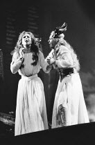 l-r: Josephine Barstow (Sieglinde), Linda Esther Gray (Brunnhilde) in THE VALKYRIE by Wagner at English National Opera (ENO), London Coliseum 22/10/1983 conductor: Mark Elder design: Maria Bjornso...