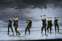 Act 3: Valhalla - The Ride of the Valkyrie, l-r: Emma Selway (Waltraute), Giselle Allen (Gerhilde), Rebecca de Pont Davies (Siegrune), Julia Melinek (Helmwige), Claire Weston (Ortlinde), Ethna Robinso...
