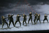 Act 3: Valhalla - The Ride of the Valkyrie, centre: Giselle Allen (Gerhilde), Emma Selway (Waltraute) in THE VALKYRIE by Wagner at English National Opera (ENO), London Coliseum 08/05/2004 conducto...