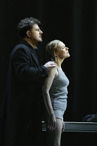 Robert Hayward (Wotan), Kathleen Broderick (Brunnhilde) in THE VALKYRIE by Wagner at English National Opera (ENO), London Coliseum 08/05/2004 conductor: Paul Daniel design: Richard Hudson lighting...