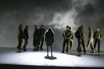 centre: Kathleen Broderick (Brunnhilde) in THE VALKYRIE by Wagner at English National Opera (ENO), London Coliseum 08/05/2004 conductor: Paul Daniel design: Richard Hudson lighting: Mark Henderson...