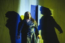 Ulla Gustafsson (Sieglinde) with the shadow of Siegmund in DIE WALKURE by Wagner at The Royal Opera, Covent Garden, London WC2 14/10/1994  conductor: Bernard Haitink design: Nigel Lowery lighting:...