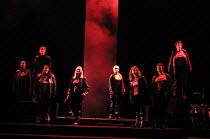 the Valkyrie warrior sisters, l-r: Ruby Philogene (Siegrune), Meryl Richardson (Helmwige), Claire Weston (Ortlinde), Leah-Marian Jones (Rossweisse), Valerie Reid (Grimwerde), Julia Melinek (Gerhilde),...