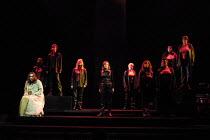 l-r: Orla Boylan (Sieglinde), Ruby Philogene (Siegrune), Meryl Richardson (Helmwige), Leah-Marian Jones (Rossweisse), Kathleen Broderick (Brunnhilde), Valerie Reid (Grimwerde), Julia Melinek (Gerhilde...