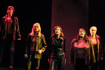 l-r: Meryl Richardson (Helmwige), Leah-Marian Jones (Rossweisse), Kathleen Broderick (Brunnhilde), Claire Weston (Ortlinde), Valerie Reid (Grimwerde) in a staged concert performance of THE VALKYRIE by...