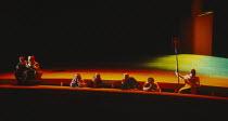l-r: Gwynne Howell (Fasolt), Carsten Stabell (Fafner), Paul Charles Clarke (Froh), Rita Cullis (Freia), Peter Sidhom (Donner), Jane Henschel (Fricka), John Tomlinson (Wotan) in DAS RHEINGOLD by Wagner...