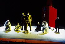 l-r: Jane Henschel (Fricka), Paul Charles Clarke (Froh), Gwynne Howell (Fasolt), Carsten Stabell (Fafner), Peter Sidhom (Donner), John Tomlinson (Wotan) in DAS RHEINGOLD by Wagner at the The Royal Ope...
