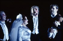 l-r: Peter Sidhom (Donner), Jane Henschel (Fricka), John Tomlinson (Wotan), Paul Charles Clarke (Froh) in DAS RHEINGOLD by Wagner at the The Royal Opera, Covent Garden, London WC2 13/10/1994  cond...