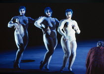the Rhinemaidens - l-r: Leah-Marian Jones (Flosshilde), Gillian Webster (Wellgunde), Judith Howarth (Woglinde) with (right) Ekkehard Wlaschiha (Alberich) in DAS RHEINGOLD by Wagner at the The Royal Op...
