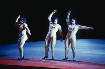 the Rhinemaidens - l-r: Judith Howarth (Woglinde), Leah-Marian Jones (Flosshilde), Gillian Webster (Wellgunde) in DAS RHEINGOLD by Wagner at the The Royal Opera, Covent Garden, London WC2 13/10/1994 &...