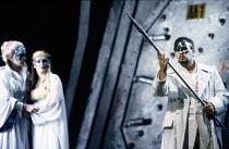 l-r: Helga Dernesch (Fricka), Deborah Riedel (Freia), James Morris (Wotan) in DAS RHEINGOLD by Wagner at the The Royal Opera, Covent Garden, London WC2 16/09/1991  conductor: Bernard Haitink desig...