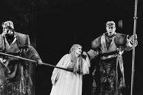 l-r: Franz-Josef Selig (Fafner), Deborah Riedel (Freia), Gwynne Howell (Fasolt) in DAS RHEINGOLD by Wagner at the The Royal Opera, Covent Garden, London WC2 16/09/1991  conductor: Bernard Haitink...