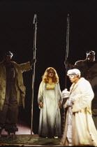 l-r: Gwynne Howell (Fasolt), Deborah Riedel (Freia), Donald Maxwell (Donner), Franz-Josef Selig (Fafner) in DAS RHEINGOLD by Wagner at the The Royal Opera, Covent Garden, London WC2 16/09/1991  co...