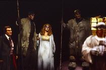 l-r: Kenneth Riegel (Loge), Gwynne Howell (Fasolt), Deborah Riedel (Freia), Franz-Josef Selig (Fafner), Donald Maxwell (Donner) in DAS RHEINGOLD by Wagner at the The Royal Opera, Covent Garden, London...
